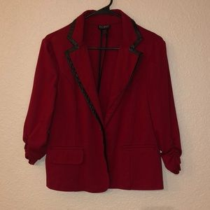Red SoHo blazer w/faux leather trim and ruched arm
